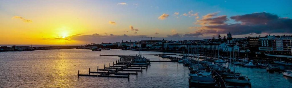 ponta delgada harbour sunset azores holiday coach holiday expert #coachholidayexpert